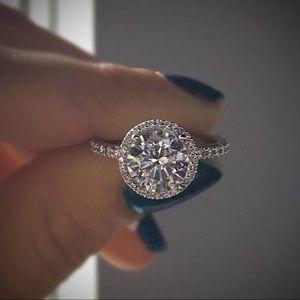 Jewelry - 14k white gold halo ring engagement wedding
